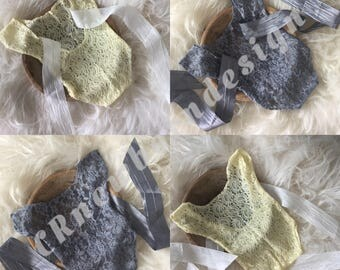 Newborn photo shoot rompers outfit of lace with Ribbon