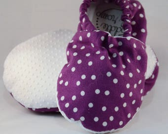 "5.5"" Soft-Soled Baby Toddler Shoes - Purple with White Polka Dots - Adjustable Ankles - Non-Slip Soles"