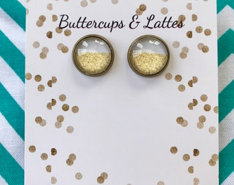 White and Gold Shimmer Stud Earrings in Bronze 12mm