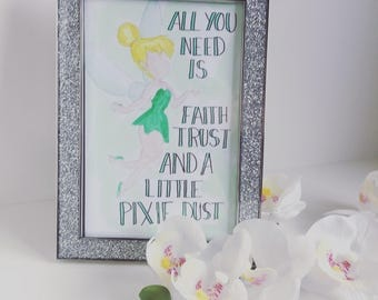 Tinkerbell watercolour painting a6 // Peter Pan // fairy