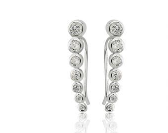 14k White Gold Plated Ladies Sterling Silver Bezel Set Caterpillar Earrings