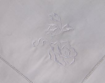 White Napkin rose embroidered design