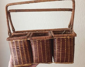 vintage wicker utensil caddy holder outdoor eating picnic utensil holder