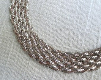 Italian Sterling Silver Braided Bracelet - Box Chain Italy