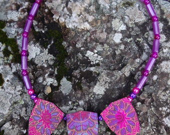 Hot pink brocade fabric covered pendant necklace 47cm by Andrew Paget