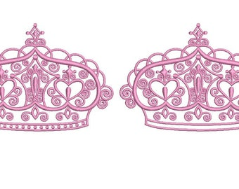 Princess Tiara Design Embroidery Design Fill Princess Crown Machine Embroidery Instant Download Digital File EN2033E