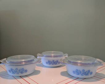 Fire King Blue Corn Flower Casserette 472 Individual Casserole Dishes with lids (qty 3)