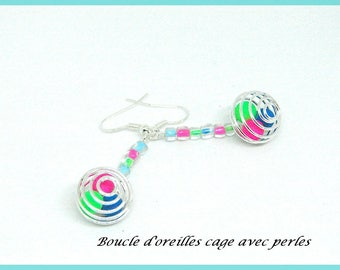 Fancy long pendant earrings with hook in silver metal with cage and pearls blue green pink