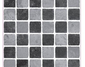 Pack of 10 Black and grey stone effect mosaic tile stickers transfers, with added gloss affect, just peel and stick, bathroom kitchen