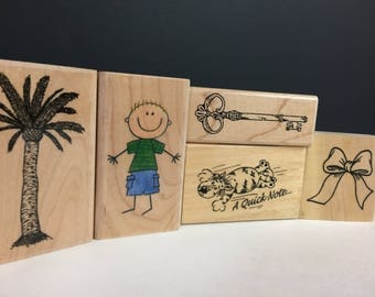 Wooden Stamp Collection Set of 5 Palm Tree Bow Stick Boy Key Cat  Lot FB