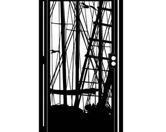 Artistic Steel Gate - Marina Metal Art - Sailboat Steel Art - Decorative Steel Panel - Sailing Steel Gate - Yacht Steel Art Panel