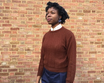 Brown Knitted Jumper with crew-neck. Size 10