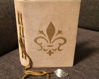Tan Fleur-de-lis Blank Leather Journal