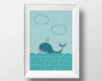 Printable Nursery Art, Nursery Decor, Happy Whale, Nautical Nursery, Instant Download, A4 size printable