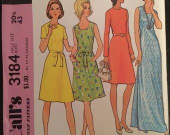 Vintage McCall's Plus Size Pattern #3184