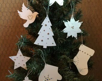 Paper Christmas Ornaments, Pearl White with Irridescent Gems, Set of 8