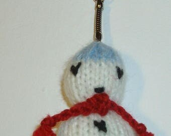Key knit depicting a snowman Hat scarf blue red