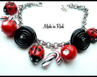 Ladybugs and delicacies on silver plated chain charm bracelet