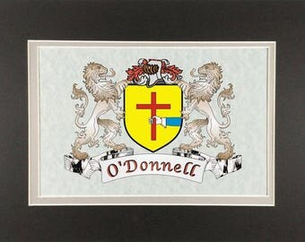 """O'Donnell Irish Coat of Arms Print - Frameable 9"""" x 12"""""""