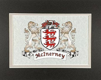 "McInerney Irish Coat of Arms Print - Frameable 9"" x 12"""