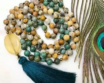 Strength Mala Featuring Crazy Lace Agate & Australian Bloodstone With Yellow Agate Cabochon, 108 Bead Mala, Tassel Mala Necklace, Japamala