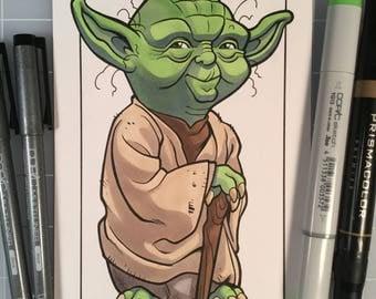 Star Wars Yoda Pen and Marker Original Art