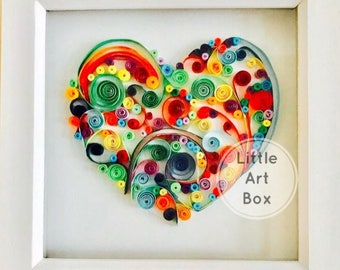 Framed Personalised Paper curl Quilling, Heart, perfect for gifting or for your home
