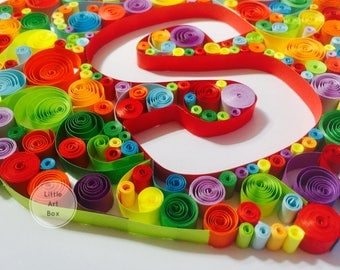Framed Personalised Paper curl Quilling, Heart with Initial, perfect for gifting or for your home