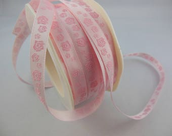 Floral printed Ribbon, pink or white