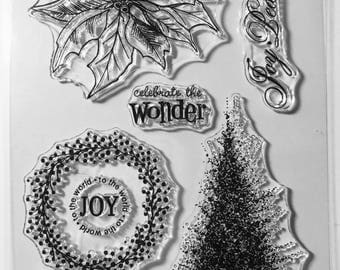 Christmas Stamps, holiday Stamp, Planner Stamps, Clear Stamps, Rubber Cling Stamps