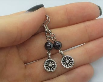 Hematite Dangle Earrings (Pierced or Clip-On)