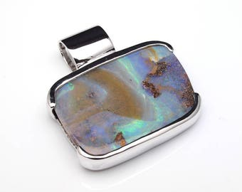 Opal Jewellery - Opal Silver Pendant with Natural Opal from Australia (Boulder Opal)