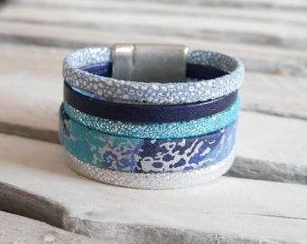 Leather Cuff Bracelet Navy Blue, turquoise, light blue and silver (BR40)