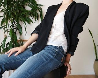 Emporio Armani Double Breasted Black Blazer / Minimal Blazer / Black blazer / sz 44