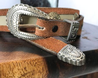 FREE SHIPPING Western Belt, Vintage Metal-Tipped Leather Belt, Suede Size x-small/ small