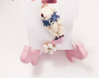 Baby Hair Clip Set with Teddy Bear with Crowd and Pearl Bow