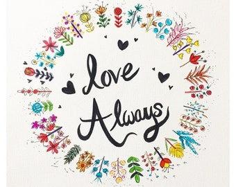 Love Always Flower Wreath Print