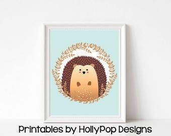 Hedgehog nursery print Printable nursery art Hedgehog decor Printable woodland nursery art Woodland animals Printable kids wall decor #1840
