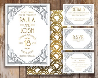 Printable Wedding Invitation, RSVP, and Details Card- Andrew Collection