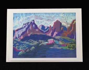 Sedona, Arizona Landscape Notecard, Art from Southwest Pastel Painting by Karlene Voepel