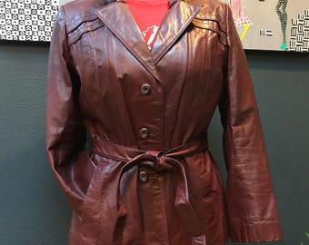 70's Brown leather jacket. Size M/L. Wilsons Leather.