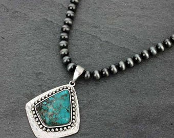 NWT* Natural Turquoise Pendant 10 mm Western Pearl Necklace Pendant #731458