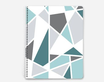 Geometric spiral notebook, gray and teal notebook, 60 lined pages, bullet journal, other color options