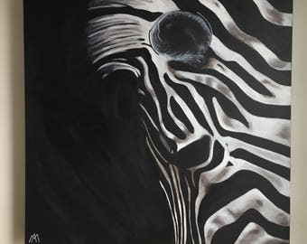 "Zebra, acrylic on canvas Gallery, 30 ""x 30"""