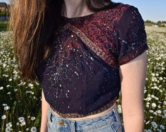 Vintage Sequined Crop Top