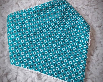 Baby bib bandana mixed - birthday gift idea - bubbles - turquoise blue and white - vintage Terry and cotton