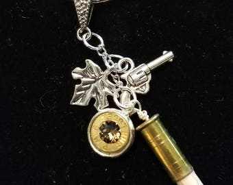 22 Caliber Bullet Keychain with jewel charm