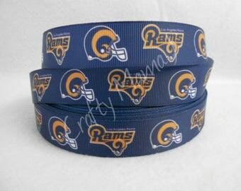 "Los Angeles Rams Football NFL 7/8"" Grosgrain Ribbon by the yard. Choose 3/5/10 yards. California"