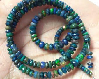 "AAA Natural Black Opal Ethiopian Faceted 3-5MM Beads 16"" Strands , Ethiopian Welo Opal Beads, Black Opal Beads,Smoked Opal Beads,Opal Strand"