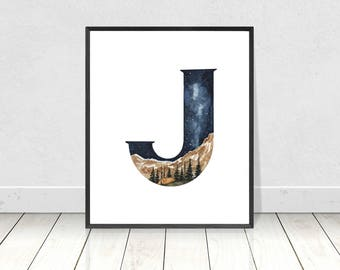 Nursery Monogram Watercolor Alphabet Art Print- Letter J Camping Landscape Boy's Room Wall Art- Alphabet Letters Nursery Room Decor